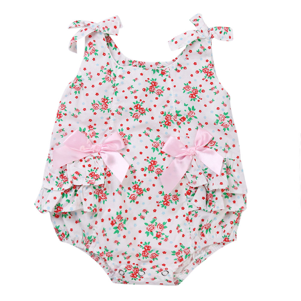 Floral Ruffle Swimsuits For Baby Newborns Girl Print Flower Ruffles Bodysuit Girls Clothes Summer Newborn Baby Cotton Floral