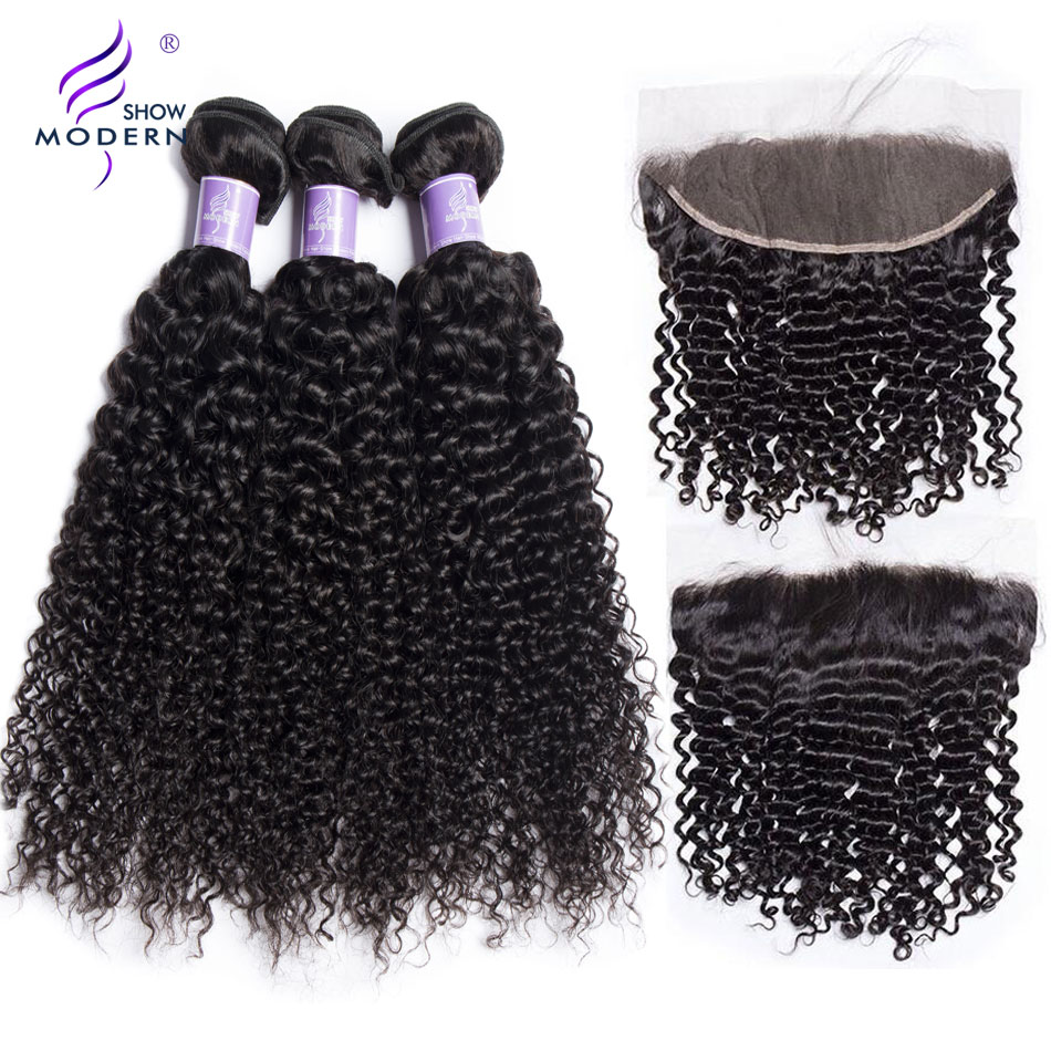 Mongolian Kinky Curly Bundles with Frontal Modern Show 100% Human Hair Weave 3 Bundles with Frontal Natural Color Non Remy Hair