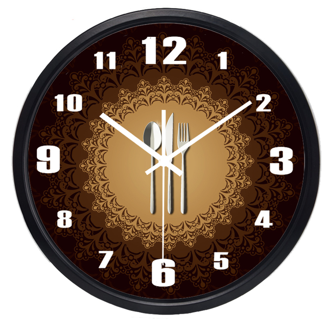 New Design Mute Kitchen Restaurant Tableware Wall Clock Beautiful Circle  Super Quiet Clock