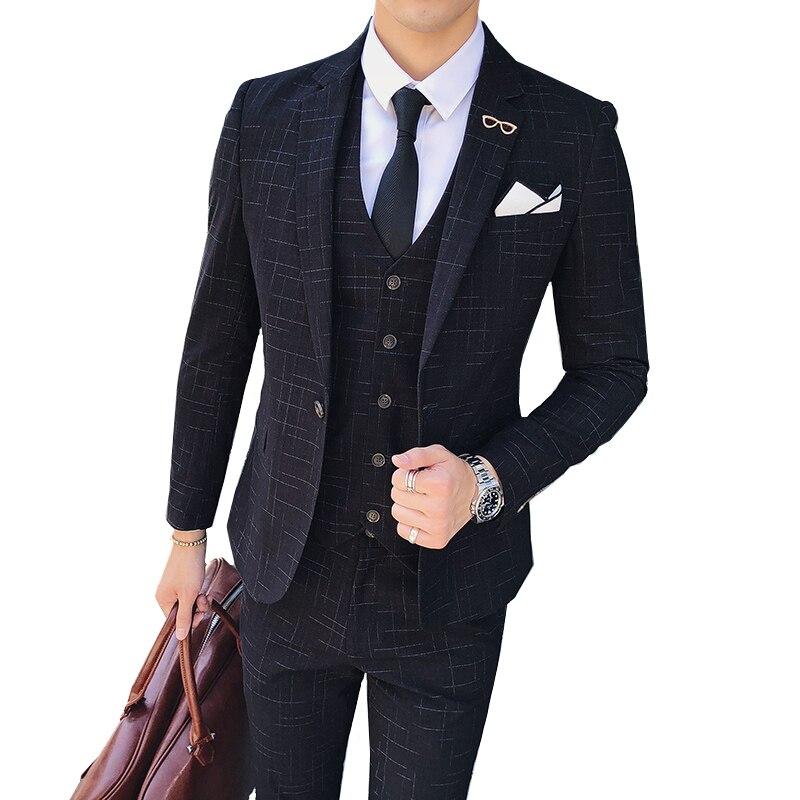 autumn Striped Plaid Men Suit 3 Piece Set ( Men Blazer jacket with Pants and Vest ) Asia size S M L XL XXL XXXL XXXXL