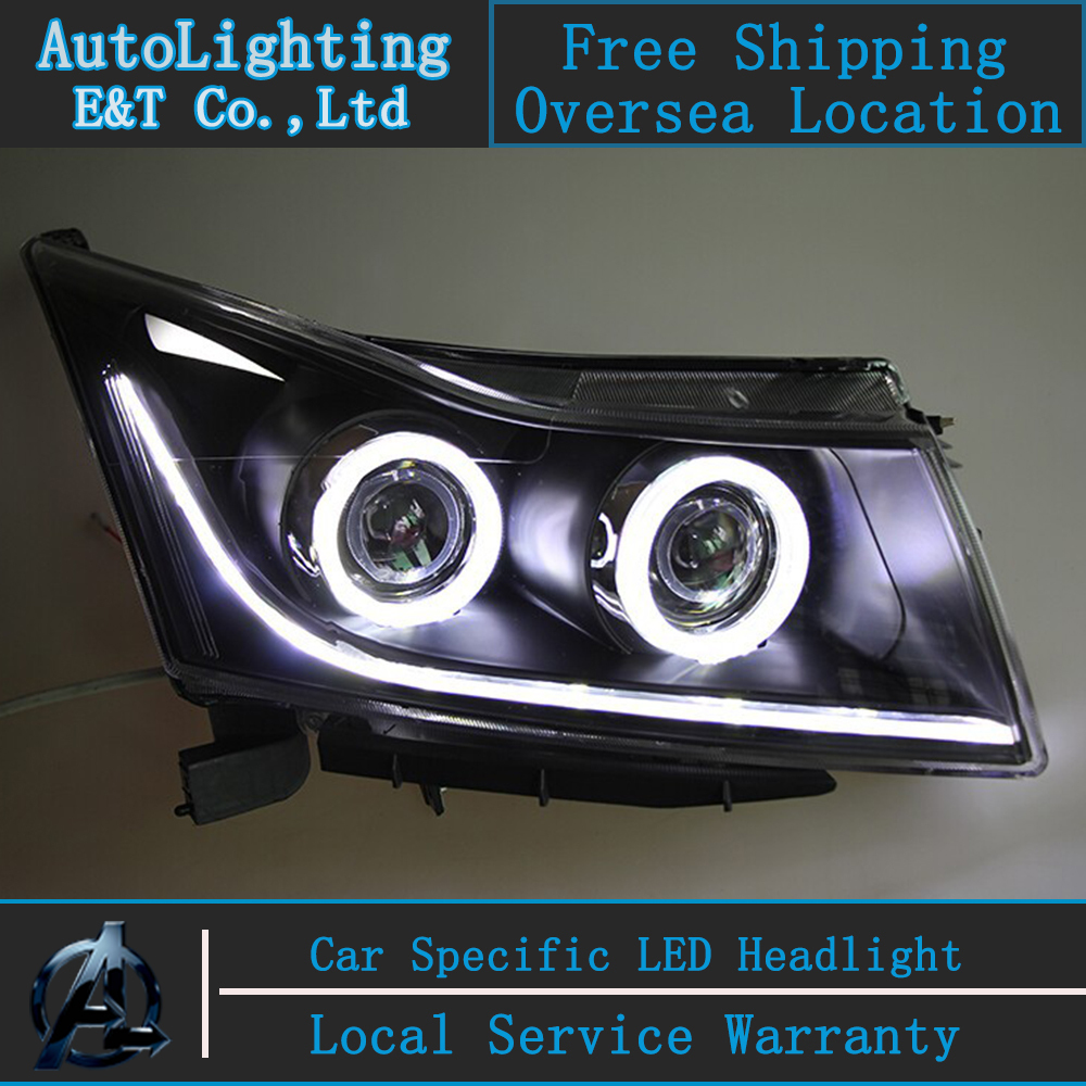 Car styling Head Lamp for Chevrolet Cruze led headlight assembly 2009-2014 angel eye led drl H7 with hid kit 2 pcs. car styling headlight assembly 2003 2009 for benz w211 doubleu angel eye led drl lens double beam h7 with hid kit 2 pcs