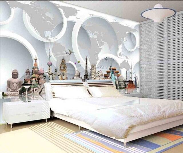 De custom 3D muurschilderingen, 3D wereldberoemde toeristische ...