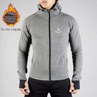 2018 Winter New Casual Jacket Men's Sweatshirts Plus Velvet Thick Warm Headphones Sports Hooded Zipper Jacket Men+Sports Pants