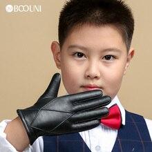 BOOUNI/Детские перчатки из натуральной кожи с пятью пальцами; сезон осень-зима; теплые бархатные детские перчатки с подкладкой из овчины для мальчиков; NM964