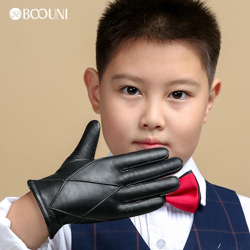 BOOUNI Genuine Leather Children Gloves Five Fingers Autumn Winter Warm Velvet Lined Kids Boys Sheepskin Gloves NM964