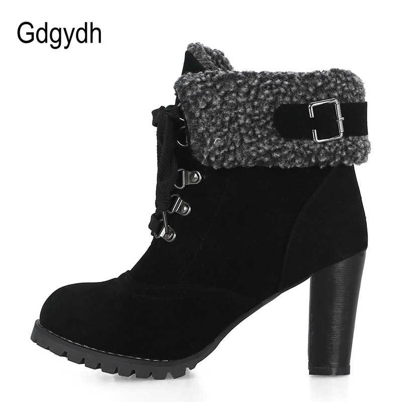 Gdgydh 2018 Yeni Kış Kürk Yüksek Süet Çizmeler sıcak ayakkabı Kadın Bağlama Yuvarlak Toe Yüksek Topuklu yarım çizmeler Kadın Toka Büyük Boy 43