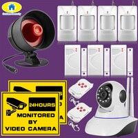 D'or de Sécurité Sans Fil Sirène D'alarme Système IP Réseau de Surveillance Intérieure WiFi Caméra Night Vision Security PIR Détecteur de Mouvement