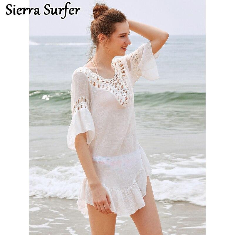 Пляжное платье туника Купальники для малышек Cover Up Для женщин парео для Саида de Praia 2018 бамбук шить Холтер юбка свободно мяч Размеры рубашка