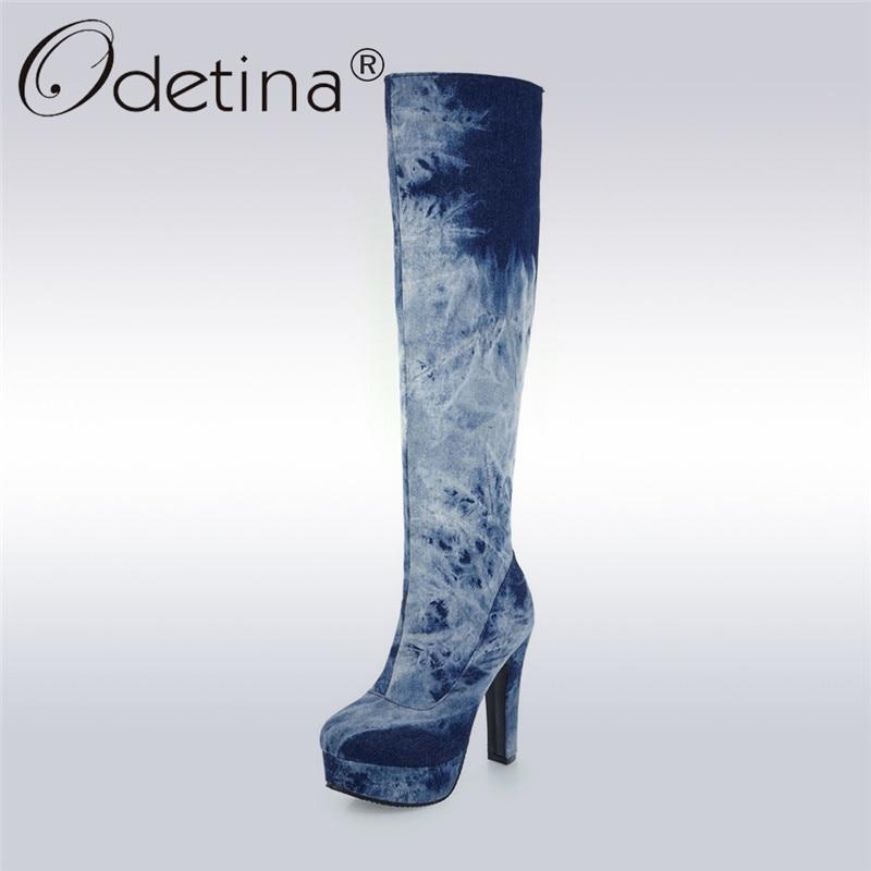 Odetina 2017 Fashion Women Knee High Denim Boots Thick High Heel Platform Long Boots Winter Warm Plush Boots Shoes Big Size 50