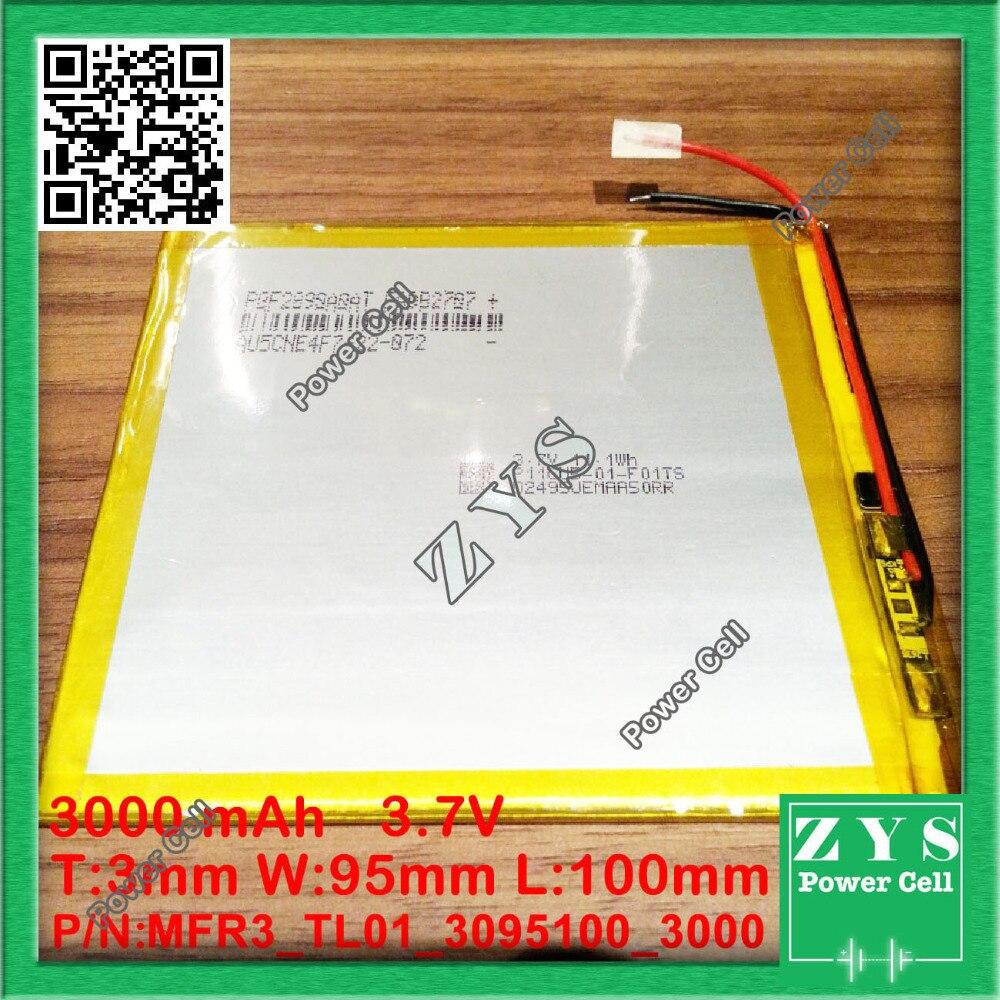 1 pcs. li ion battery 3.7v 3000mAh rechargeable battery 3.7 v 3000 mah size: 3x95x100mm
