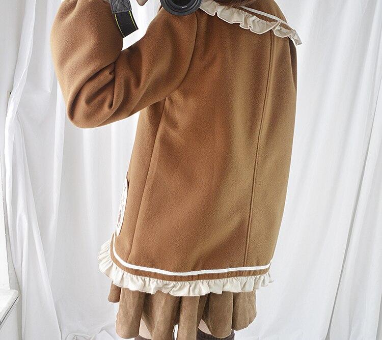 Kawaii Marrón Niñas Bolsillo Abrigo Linda Prendas Bordado Lana Carta Volantes Mujeres Panadería Las Lolita Otoño Brown Mori Mezcla De Oso q8UY5P