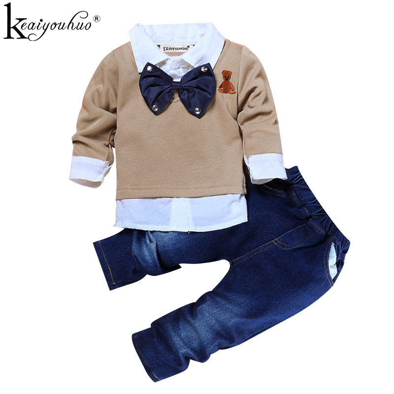 Kids Clothes Autumn Boys Gentleman Suits Wear Children Clothing Sets Long Sleeve Toddler Boys Clothes T-shirt+Jeans Sport Suit bear leader autumn children boys clothes sets long sleeve t shirt jeans 2pcs kids suits cartoon car pattern boys clothing sets