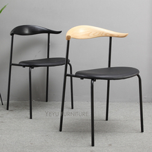 minimalist modern design loft style solid wooden and metal steel dining chair industrial loft design chair dining furniture 1pc