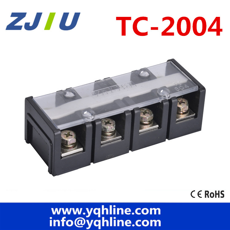 цена на Large current 600V 200A Double Rows 4P 4 Positions Covered Barrier Screw Terminal Block Copper TC-2004