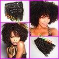 Pelo humano virginal indio clip-ins, 7 Unids 3b/3c clip-ins tejidos de pelo, indio clip en extensiones de cabello