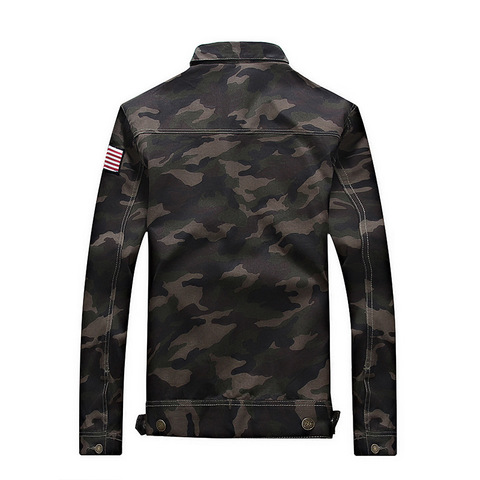 Camouflage 2019 Autumn  Jacket Men Denim Regular Turn-down Cotton Casual Solid Loose Pockets Street Wear Jackets Coats Karachi