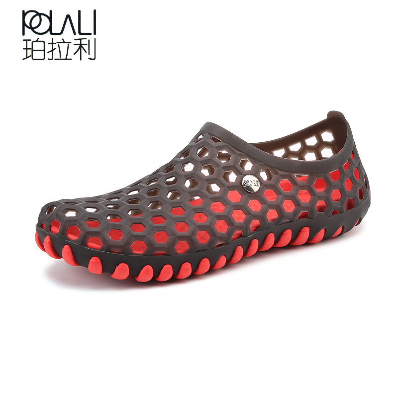 POLALI Men s Slippers Casual Shoes Summer Beach Jelly Shoes Fashion  Chaussure Soft and Comfortable Flip-flops Light Rebber Shoes US 15.8   pair   lot 1 142930a6cee