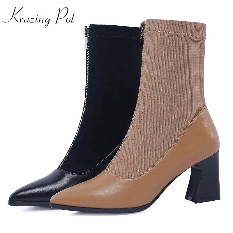 Krazing Pot cow leather knitting material ankle boots high quality high heels Autumn Winter pointed toe zipper ankle boots L8f4 krazing pot winter kid suede cow leather patch work high heel basic boots winter zipper round toe office lady ankle boots l12