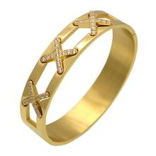 El último diseño de la Joyería de Lujo Pulseras X Cruz CZ Diamond Pavimentada Cuff Brazalete Para Las Mujeres Chapado En Oro de Pulsera de Moda de Joyería