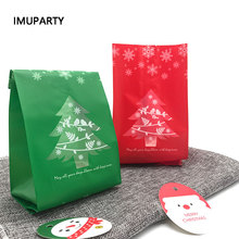 25pcs 2018 Christmas Tree Biscuit Bags Red Green with Window New Year Gift Packaging Decor Favors Candy Bag Xmas Decorations