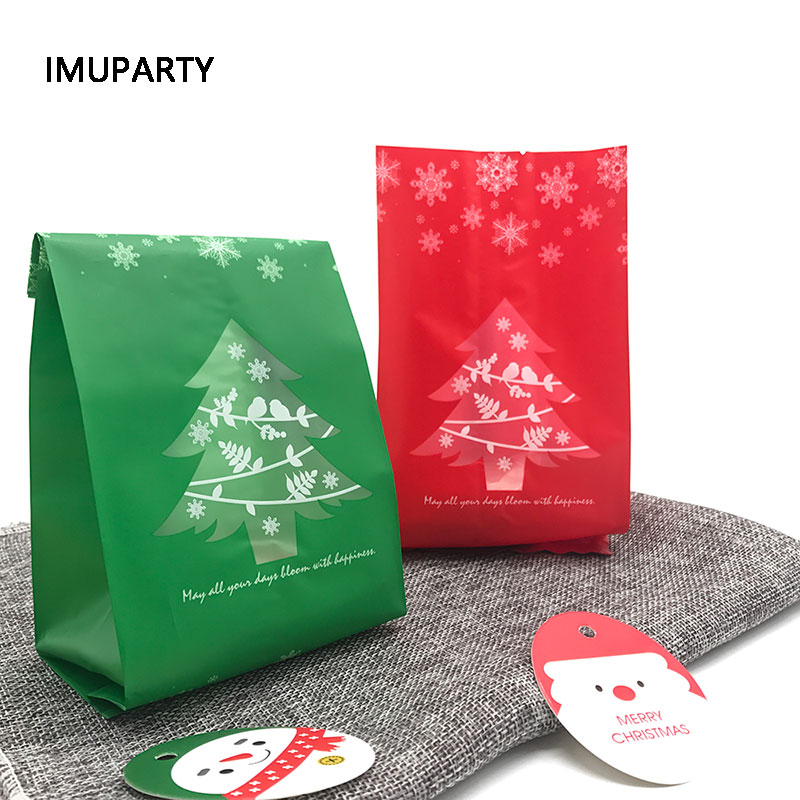 25pcs Christmas Tree Biscuit Bags Red Green With Window New Year Gift Packaging Decor Favors Candy Bag Xmas Decorations