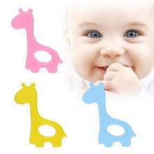 New Cute Creative Giraffe Teether New Baby Infant teethers Soft Silicone DIY Kid Giraffe Shape Craft Handmade Chewing Ring Toy(China)