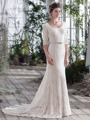 Vintage Lace Mermaid Modest Wedding Dresses With 3/4 Sleeves Vestidos De Novia Scoop Buttons Simple Bridal Gowns 2016 New
