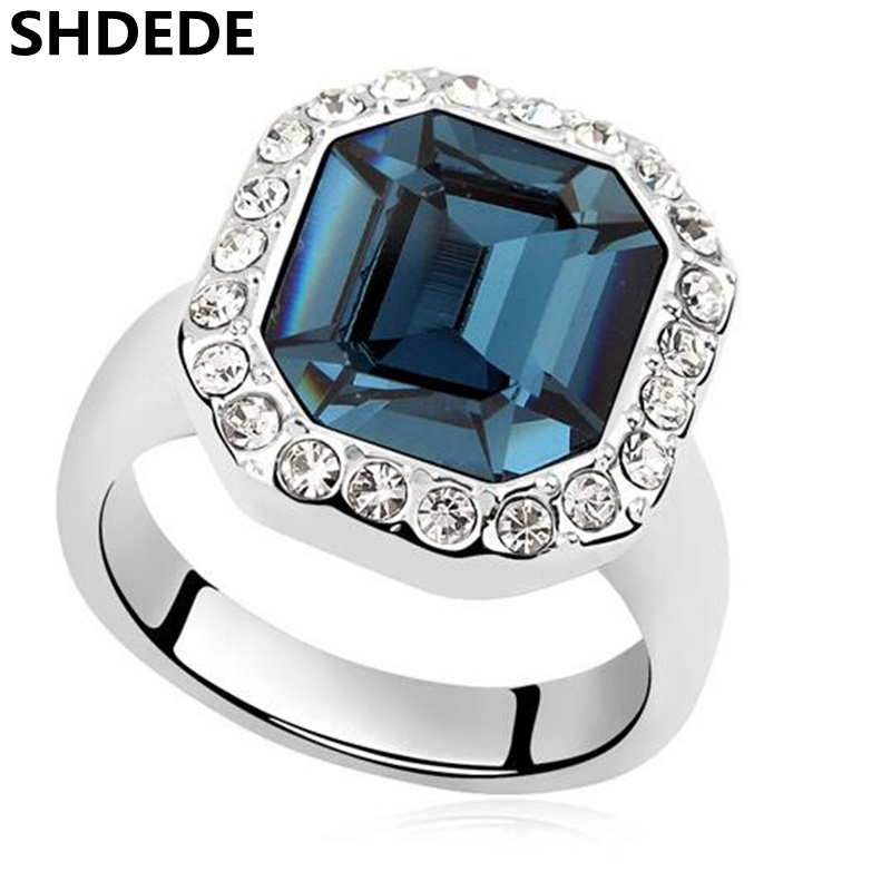 SHDEDE High Quality Square Big Crystal from Austrian Engagement Rings New Fashion Jewelry Women -9220