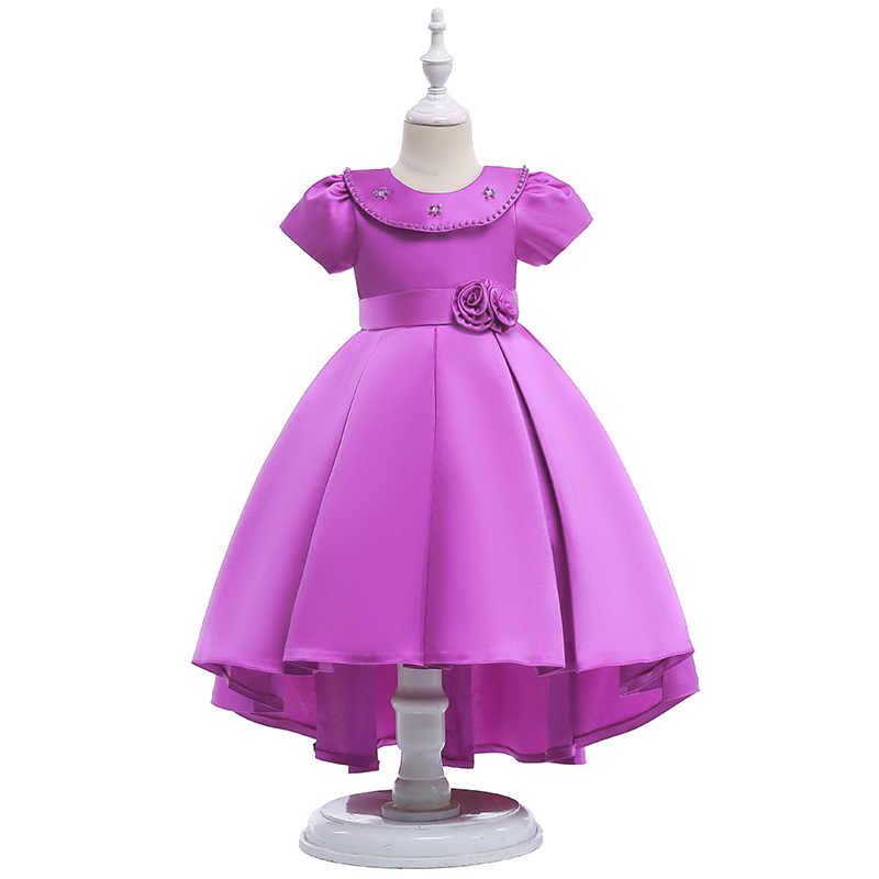 בנות שמלת 2019 תורו צוואר נייל פרל משפט קצר שרוולים קפלים נסיכת אריג סאטן סנונית זנב Elegent שמלת ערב