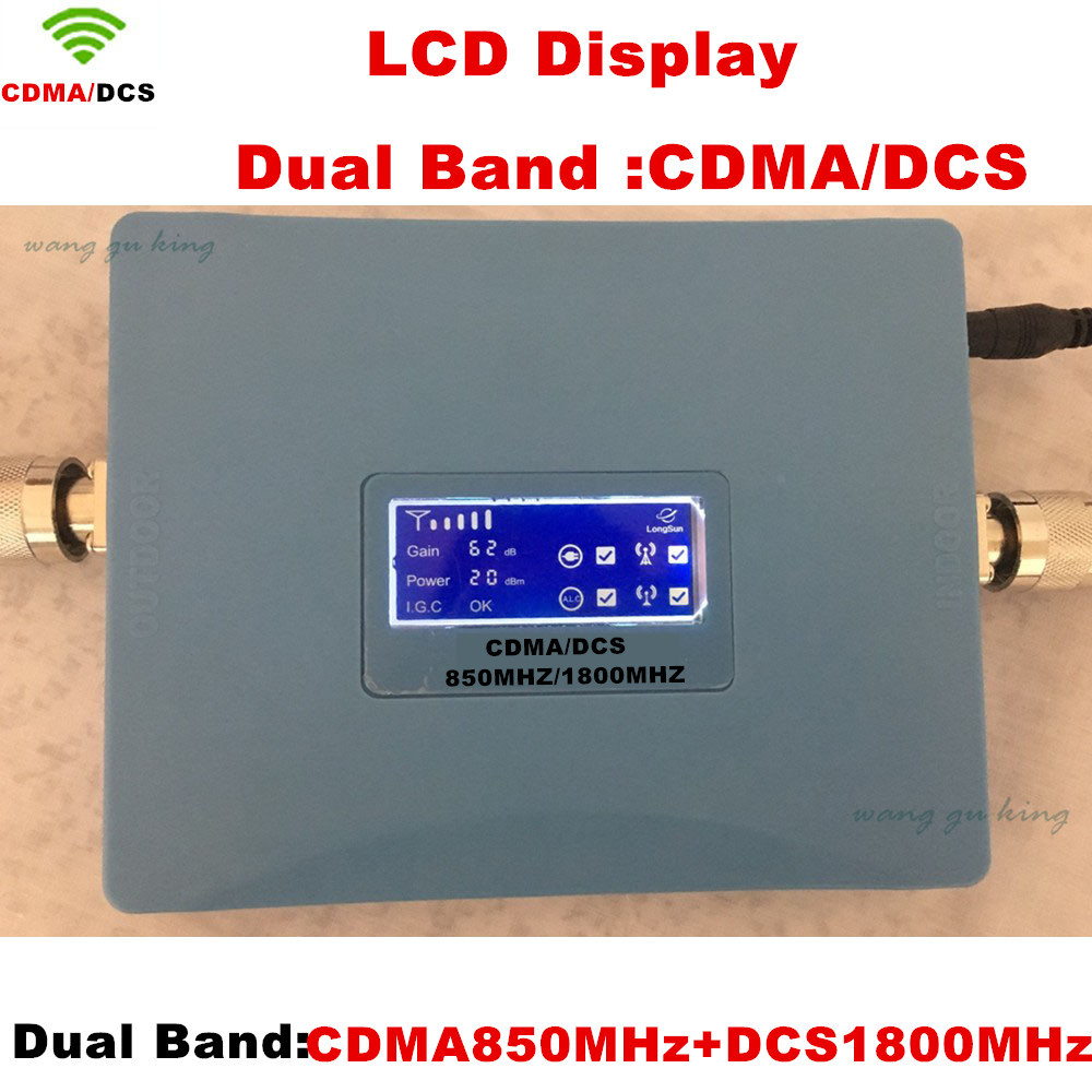 LCD Dual Band <font><b>repetidor</b></font> CDMA <font><b>850</b></font> <font><b>mhz</b></font> DCS 1800 <font><b>mhz</b></font> Repeater Mobile/Cell/Cellular Phone Amplifier Signal Repeater Booster image