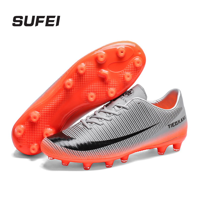 34d2362eff sufei Men New Soccer Shoes AG Outdoor Women Trainer Ankle Football Boots  Turf Cleats Breathable Sneakers Futsal Shoes