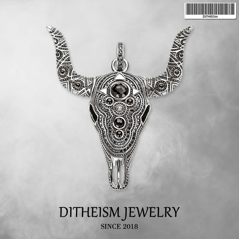 Bull Buffalo Skull Pendant,2018 New Fashion Jewelry 925 Sterling Silver Blackened Punk Gift For Women Men Boy Girls Fit Necklace punk style skull pendant choker necklace for women