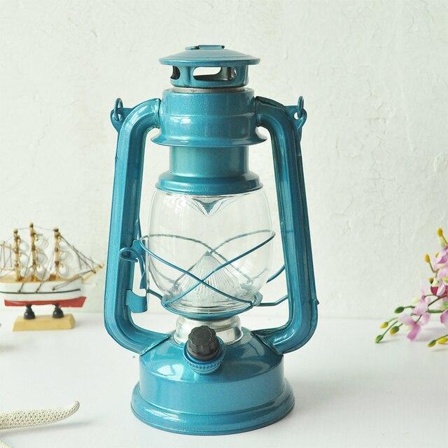 Good Wrought Iron LED Kerosene Alcohol Lamps Portable Lantern Outdoor Camping  Lighting Retro Candle Holders