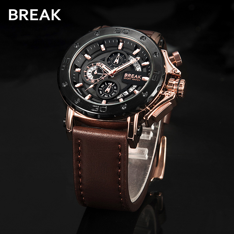 BREAK Chronograph Casual Watch Man Luxury Quartz Military Sport Watches Leather Auto Date Men Wristwatch Relogio Masculino 5690 все цены