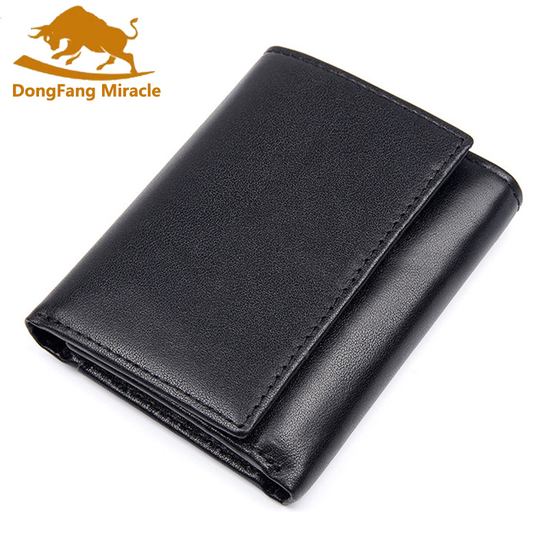 Men RFID Blocking Genuine Leather Wallet Trifold Short Minimalist Wallet Vintage Card Holder Male Carteria Masculina