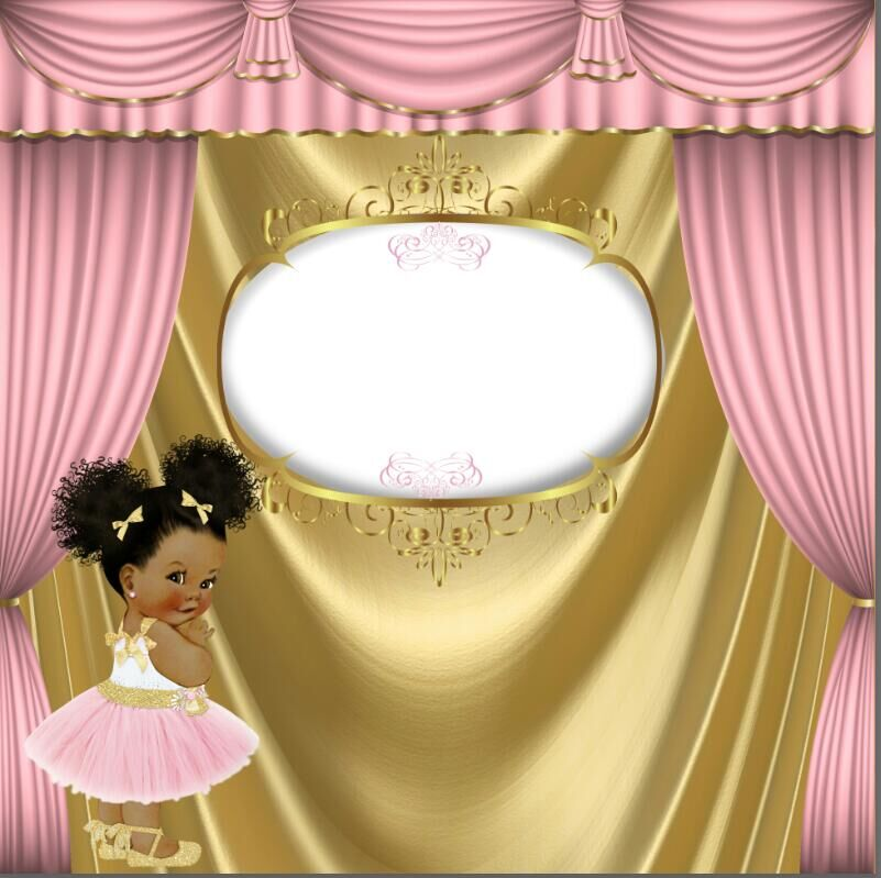 8x8ft Pink Curtain Drape Gold Crown Girl Baby Shower