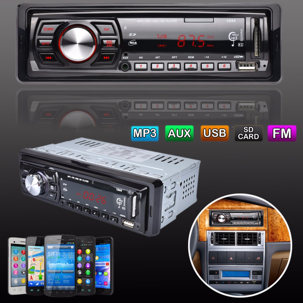 Red LED Screen In-Dash FM Car Input Receiver Stereo 50W x 4 LCD Display SD USB MP3 WMA Radio Player fm модулятор lcd sd usb mp3