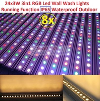 8xLot Sales Led Stage Lights Wall Washer Led Light 24x3W 3in1 RGB Pixel Bar Line Decoration