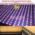 8 xlot vendas led luzes do palco da arruela da parede de led light 24x3 w 3in1 Pixel RGB Linha Bar Decoração de Volta Luzes DJ Disco DMX Em Movimento feixe