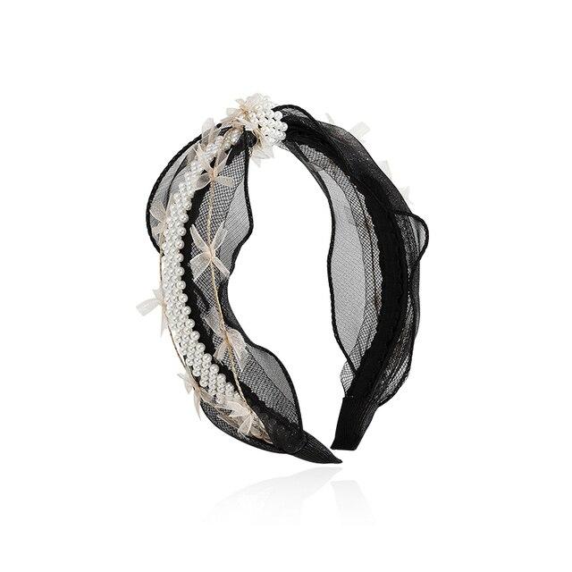 Женская Кружевная повязка на голову с бусинами
