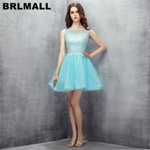 BRLMALL Simple Cheap Blue Homecoming Dresses Lace Appliques Beaded Short  Graduation Dress Tulle Party Gown vestidos 59a485c0be3e