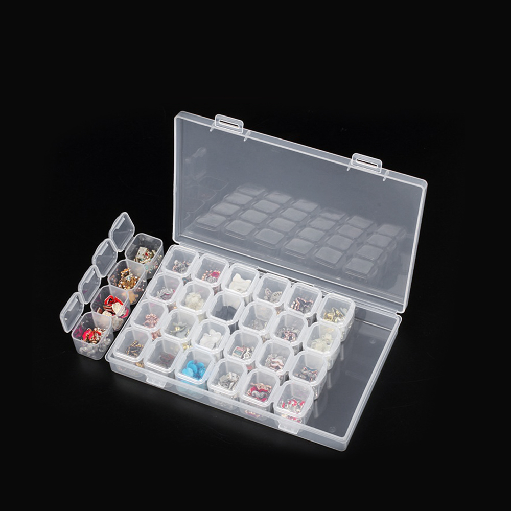 Liplasting Organize 28 lots Diamond Embroidery Box Diamond Painting Accessory Case clear plastic Beads Display Storage Box TSLM1