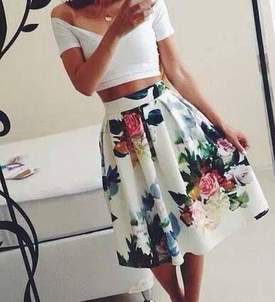 c10716001c Women Floral Print Elastic High Waist Pleated Long Midi Skater Skirt White  In Stock 2015 Summer style New skirt-in Skirts from Women's Clothing on ...
