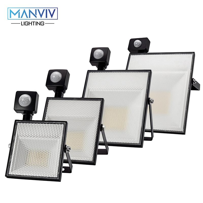LED Motion Sensor Floodlight 15W 30W 45W 60W AC220V SMD2835 Adjustable Sensor Outdoor LightingGarden Garage Spotlight Wall Lamp