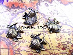15 шт. -- Подвески Angelfish Античная Латунь Тон Ангел Подвески-рыбки/Подвески, тропические рыбы 21x24мм
