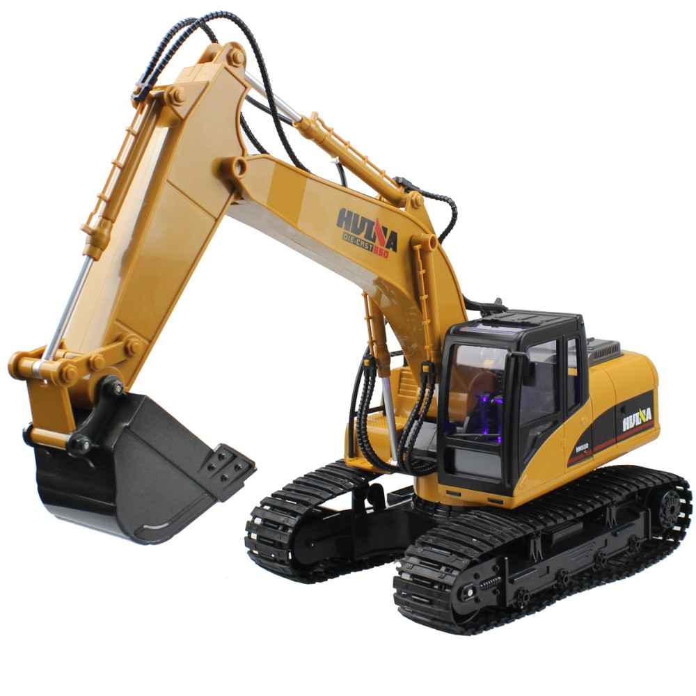 Huina RC Excavator Alloy Shovel 15 CH 2.4G Electric Remote Control Digger Flashing Light& Sound Truck Model Hobby Toys