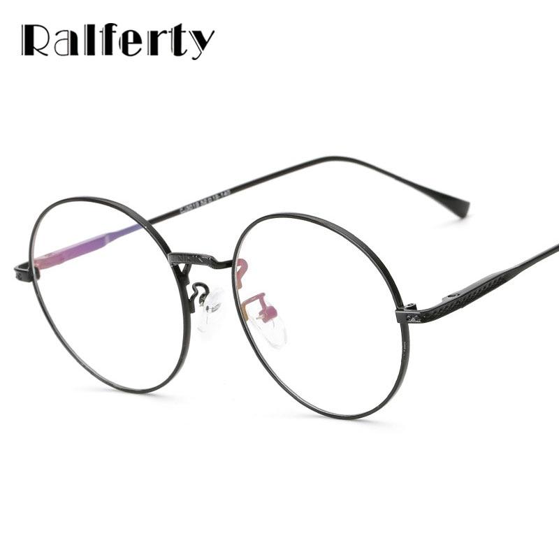 Ralferty Vintage Round Eyeglasses Frame With Clear Lens Women Men Computer  Goggles Gold Rims Metal Optic Frames Eyewear 3019 c4a20c19df