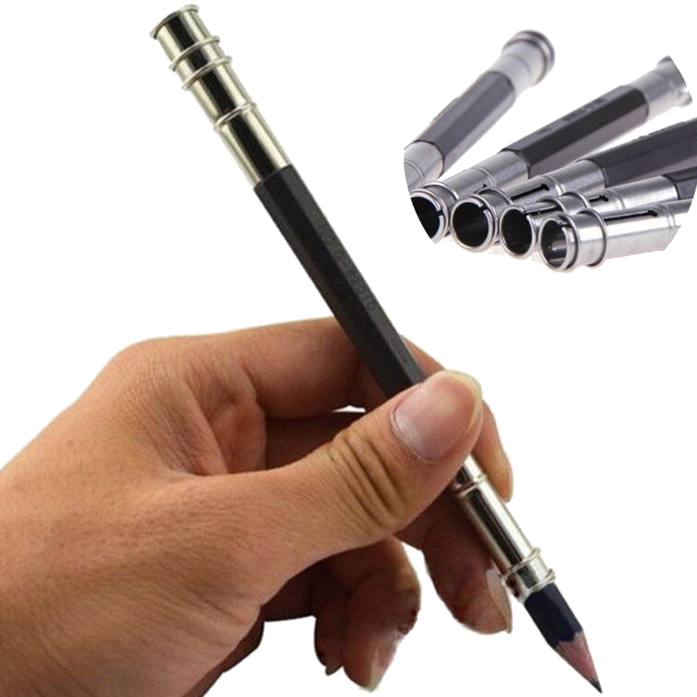 New Arrival 2Pcs Metal Plastic Drawing Pencil Extender Device Lengthened Carbon Rods Clip Lengthening Bar Pencil Sketch Art