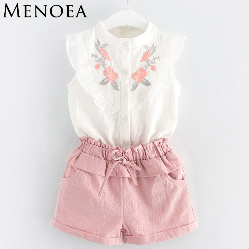 Girls Suits 2018 New Summer Style Beautiful Floral Flower Sleeve Children Vest Clothing Shorts Suit With Belt 2 Pieces Clothes 2 pcs children fashion flower wreath headdress beautiful bracelets suit dress deserve to act the role of 2018