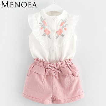 Baby girl dresses cheap baby clothes Summer Style Beautiful Floral Flower Sleeve Children Vest Clothing Shorts Suit With Belt 2 Pieces Clothes Girls Clothing
